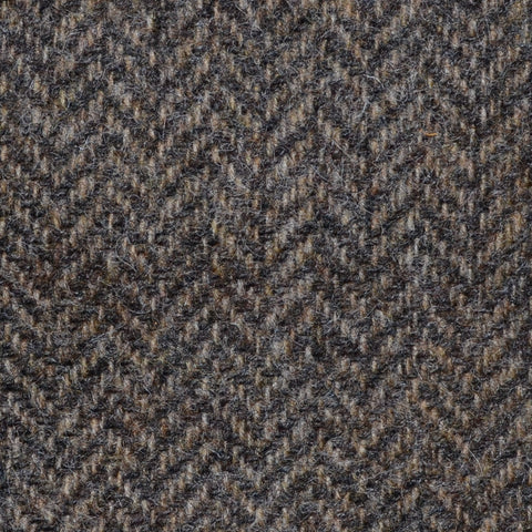 Vintage Brown Herringbone Shetland Tweed