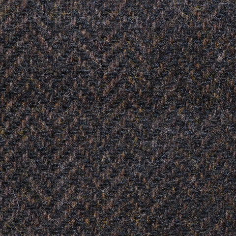 Dark Brown Herringbone Shetland Tweed