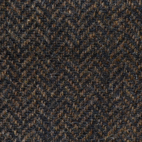 Chocolate Brown Herringbone Shetland Tweed