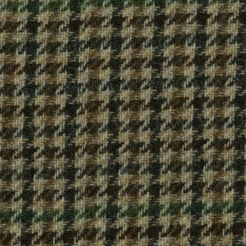 Sand with Brown and Green Dogtooth Check Tweed