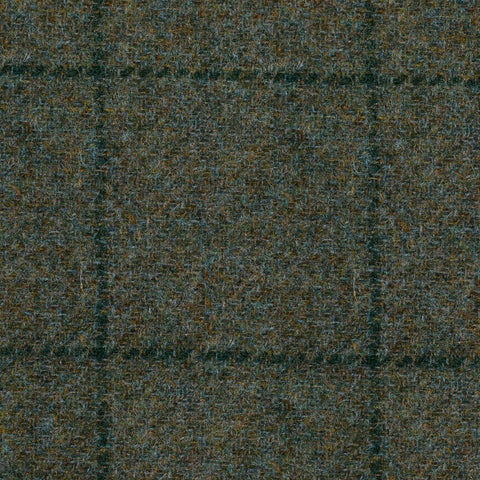 Moss Green with Blue Window Pane Check Tweed