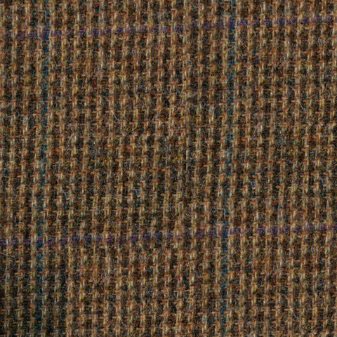 Brown with Subtle Blue and Purple Check Tweed