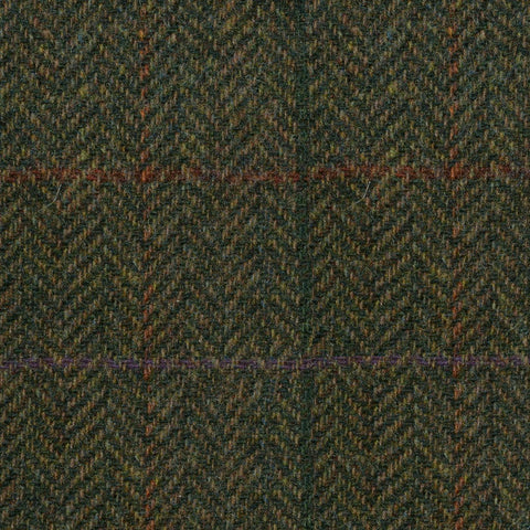 Moss Green Herringbone with Orange & Green Check Tweed