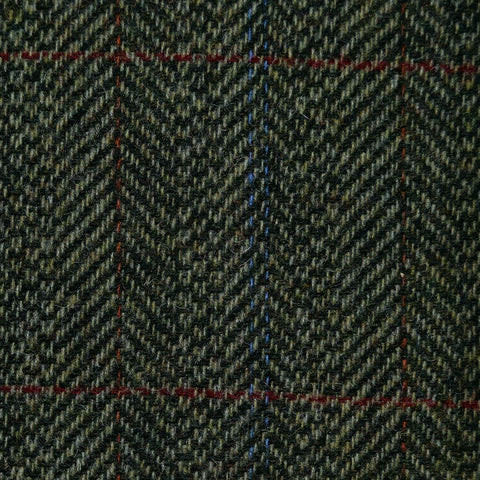 Green Herringbone with Orange, Red & Blue Check Tweed