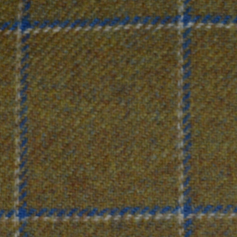 Sand with Blue and White Window Pane Check Tweed