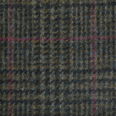 Moss Green Prince of Wales with Wine Check Tweed