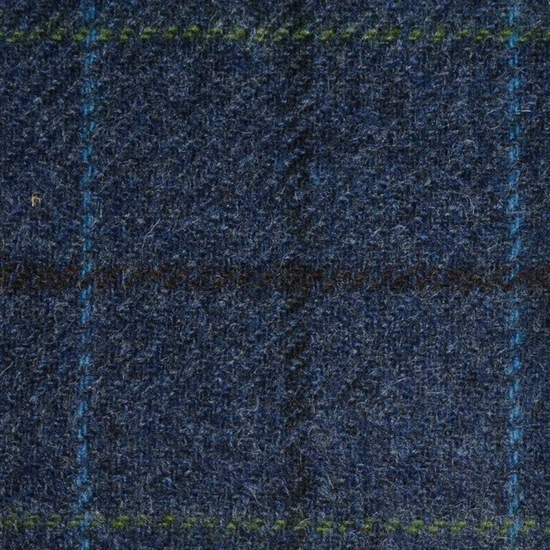 Medium Blue with Blue, Green and Black Check Tweed