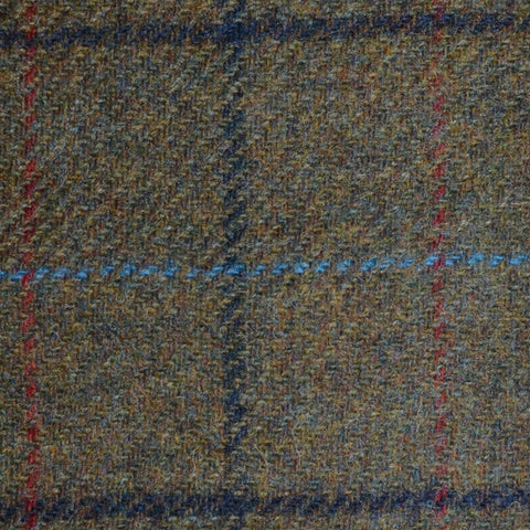 Moss Green with Navy Blue, Royal Blue and Red Check Tweed