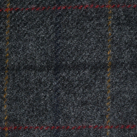 Grey with Navy Blue, Sand and Red Check Tweed