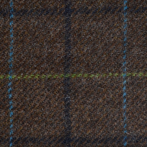 Brown with Navy Blue, Royal Blue and Green Check Tweed