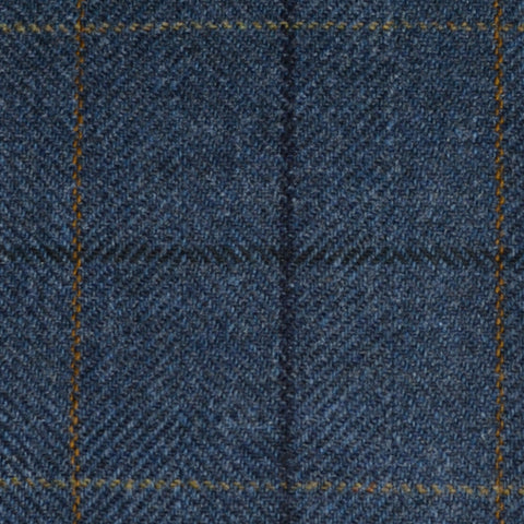 Medium Blue Herringbone with Navy Blue and Sand Check Tweed