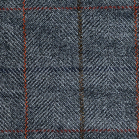 Grey Herringbone with Blue, Brown, Orange and Red Check Tweed