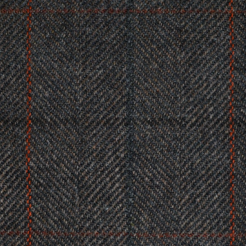 Grey/Brown Herringbone with Blue, Brown, Orange and Red Check Tweed