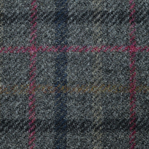 Medium Grey with Dark Grey, Burgundy and Tan Check Tweed