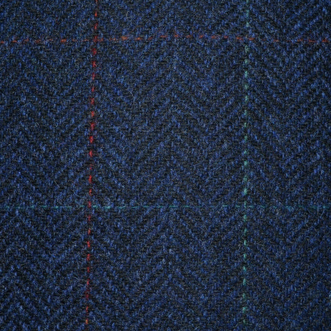Navy Blue Herringbone with Red, Orange and Green Check Tweed