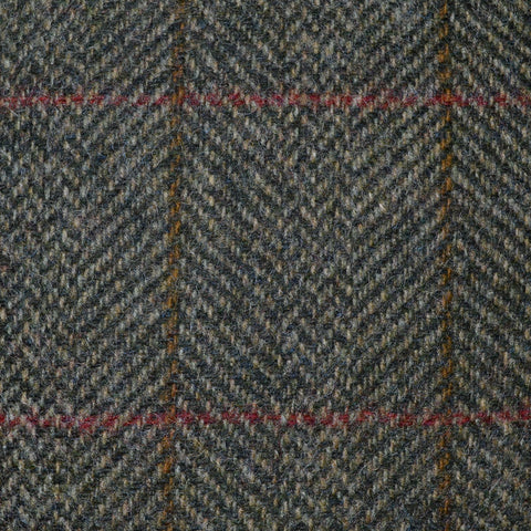 Moss Green Herringbone with Red and Tan Check Tweed