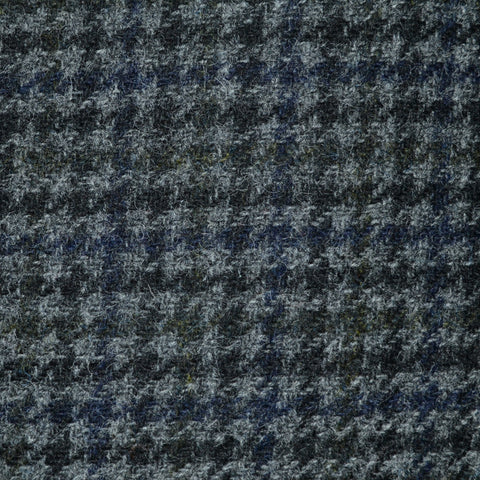 Medium Grey with Dark Grey and Moss Green Dogtooth Check Tweed