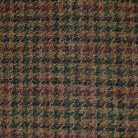 Medium Brown with Dark Brown and Green Dogtooth Check Tweed