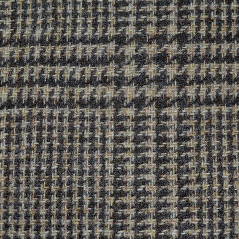 Beige and Dark Brown Prince of Wales Check Tweed