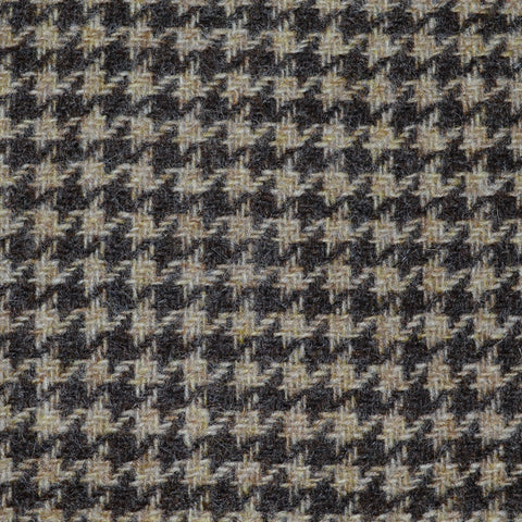 Beige and Dark Brown Dogtooth Check Tweed