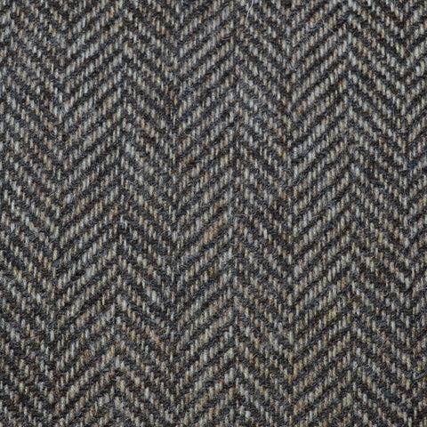 Beige and Dark Brown Herringbone Tweed
