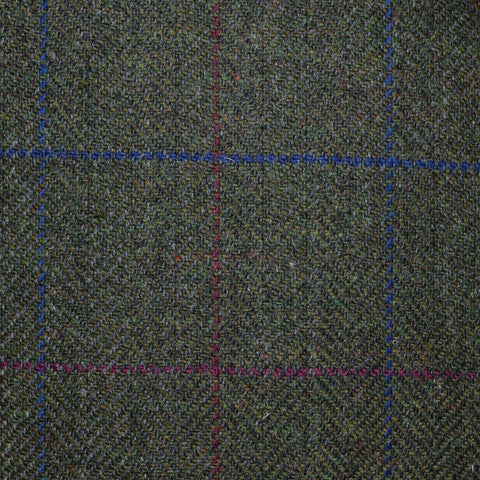 Moss Green with Burgundy and Navy Blue Check Tweed