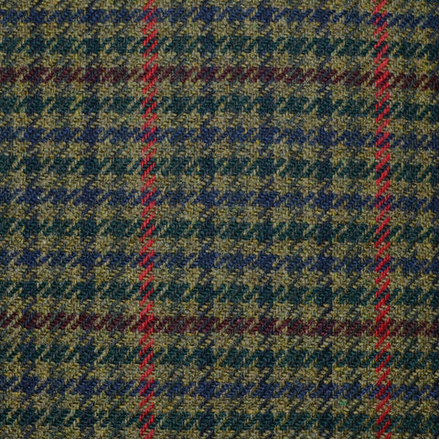 Moss Green and Dark Green Dogtooth with Red and Burgundy Window Pane Check Tweed