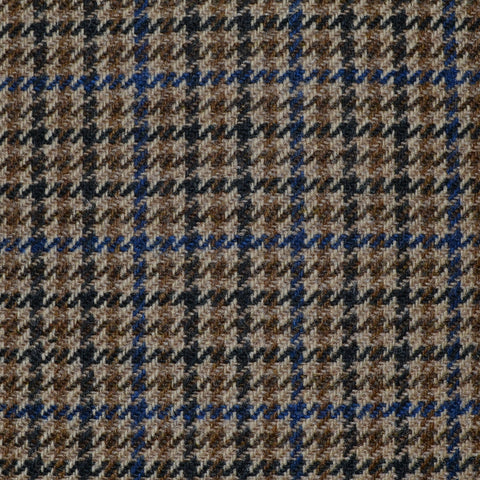 Beige and Tan with Blue and Navy Blue Dogtooth Check Tweed