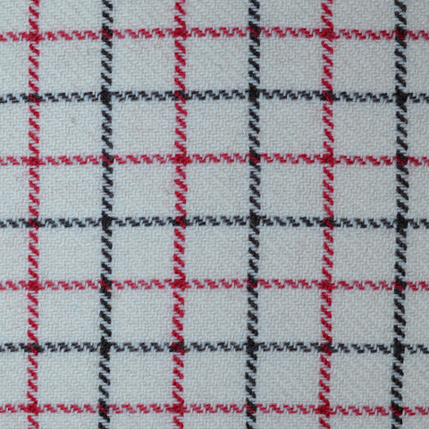 Cream, Red & Black Tattersall Check Tweed