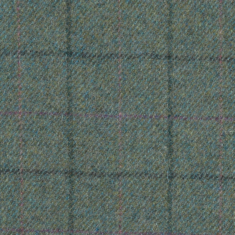 Green/Blue with Dark Gren, Pink & Fuchsia Check All Wool Tweed