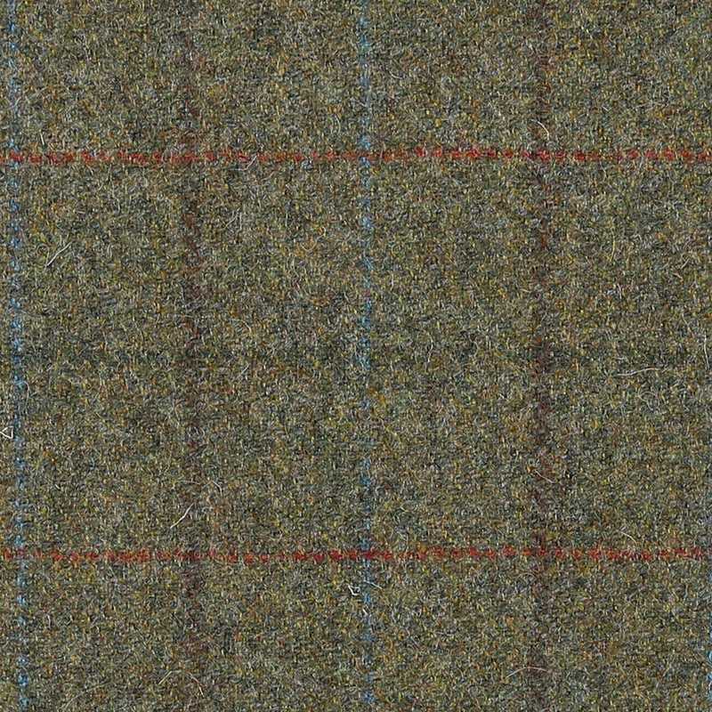 Moss Green with Green, Brown and Red Check All Wool Tweed