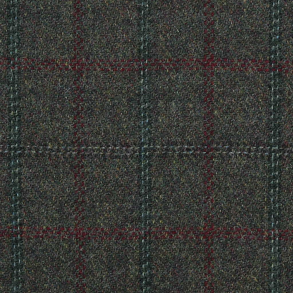 Dark Green with Brown, Blue & Red Twin Check All Wool Tweed