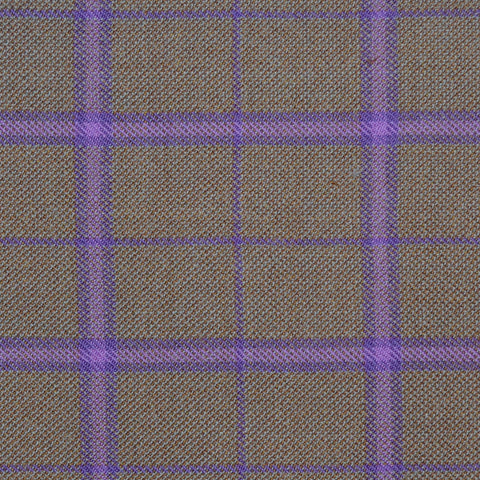 Sand with Purple & Violet Multi Check Merino Jacketing/Suiting