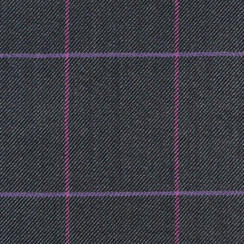 Dark Grey with Pink & Violet Check Merino Jacketing/Suiting
