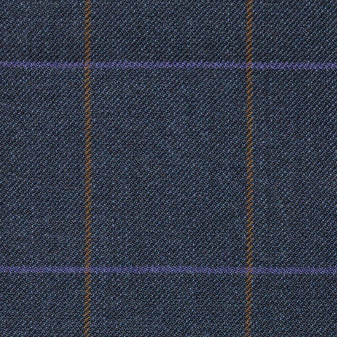 Blue/Grey with Brown & Purple Check Merino Jacketing/Suiting