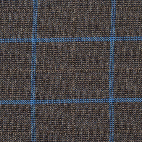 Brown with Royal Blue Check Merino Jacketing/Suiting