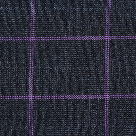 Blue/Grey with Violet Check Merino Jacketing/Suiting