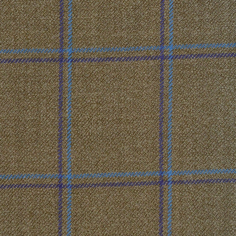 Sand with Purple & Blue Check Merino Jacketing/Suiting
