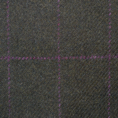 Dark Green with Purple Check Lambswool Tweed