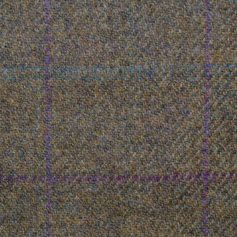 Moss Green with Purple & Blue Check Lambswool Tweed
