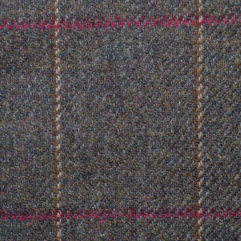 Moss Green with Red & Beige Check Lambswool Tweed