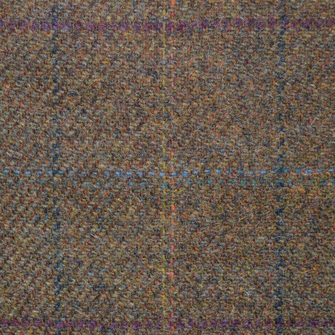 Brown with Green & Purple Check Lambswool Tweed