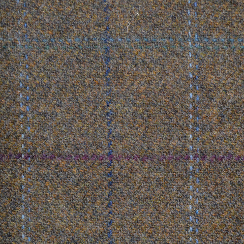 Moss Green with Blue, Purple & Green Check Lambswool Tweed
