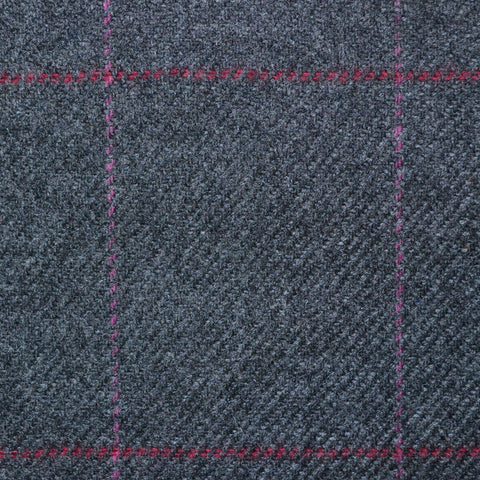 Dark Grey with Purple & Red Check Lambswool Tweed
