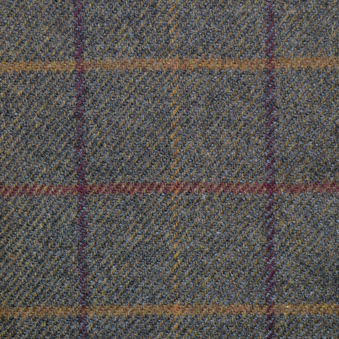 Moss Green with Purple, Brown & Sand Check Lambswool Tweed