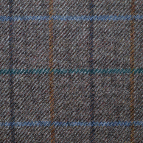 Brown with Green, Brown, Orange & Blue Check Lambswool Tweed