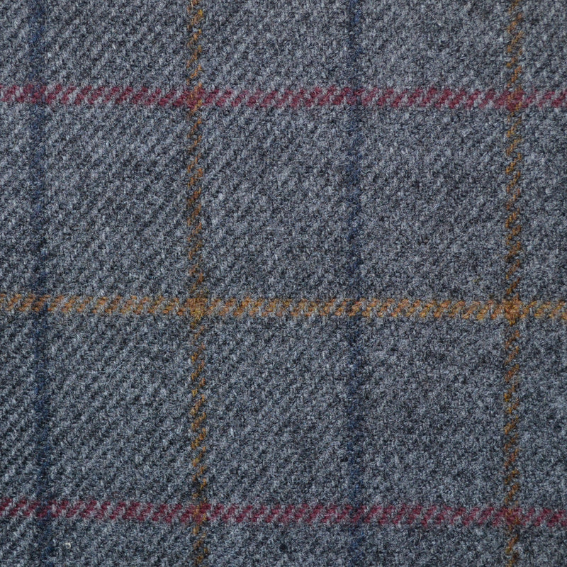 Grey with Blue, Red, Brown & Sand Check Lambswool Tweed