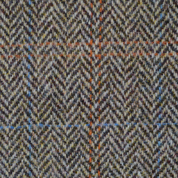 Sand And Brown Herringbone With Orange And Blue Check