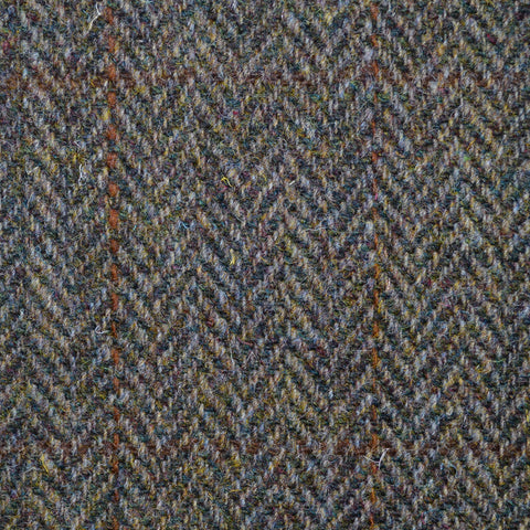 Moss Green Herringbone with Orange Check Harris Tweed
