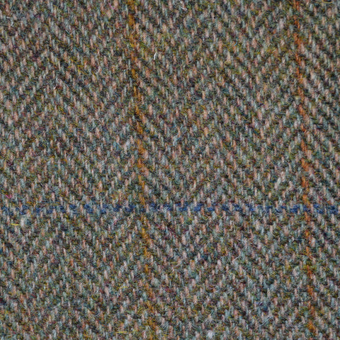 Moss Green Herringbone with Orange and Blue Check Harris Tweed